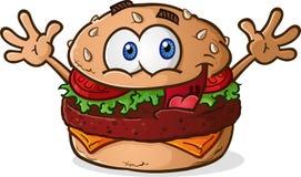 Hamburger Cheeseburger Cartoon. A smiling happy cheeseburger cartoon character, celebrating with his hands in the air royalty free illustration