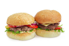 Hamburger and cheeseburger on a light background Royalty Free Stock Photography