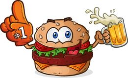 Hamburger-Cheeseburger-Sport-Fan-Zeichentrickfilm-Figur Stockbilder