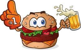 Hamburger Cheeseburger Sports Fan Cartoon Character. A hamburger cartoon sports fan character with toppings and cheese, smiling and holding a beer mug and Stock Images