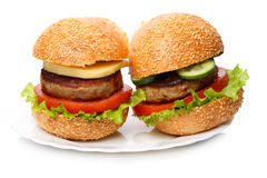 Hamburger and cheeseburger on a white plate Stock Photo