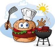 Hamburger-Cheeseburger-Zeichentrickfilm-Figur, die mit einem Chef Hat grillt Lizenzfreies Stockbild