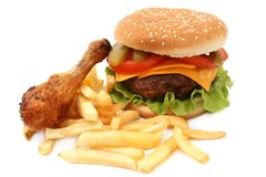 Hamburger and chicken Royalty Free Stock Images