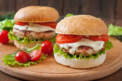 Hamburger with chicken Royalty Free Stock Photo