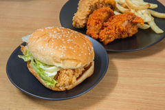 Hamburger with chicken Royalty Free Stock Images