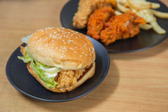 Hamburger with chicken Royalty Free Stock Image
