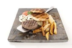Hamburger and Chips Royalty Free Stock Images