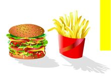 Hamburger and Chips. A greedy fast food with traditional savours useful to illustrate a menu. You can find other slurpy illustrations in my portfolio. I am doing Royalty Free Stock Photography