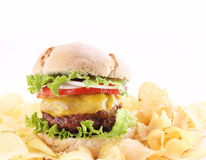 Hamburger with chips isolated Royalty Free Stock Photos