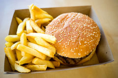 Hamburger and chips meal Royalty Free Stock Photos