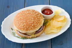 Hamburger with chips Stock Photo