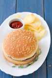 Hamburger with chips and tomato sauce Royalty Free Stock Images