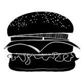 Hamburger with a chop, cheese, onions and tomatoes. Sprinkled with sesame. Black and white icon Stock Photos