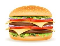 Hamburger clássico com a cebola e o queijo do tomate da costeleta da carne em um bu ilustração do vetor