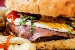 Hamburger close up photograph. Photograph of a hamburger close up Stock Photo