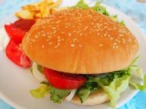 Hamburger. Close up on a service plate stock photo