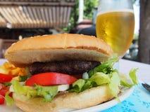 Hamburger. Close up on a service plate royalty free stock photo