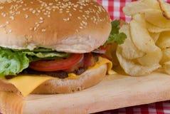 Hamburger closeup. Close up of a hamburger with chips Stock Images