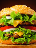 Hamburger closeup detail. Fast food with delicious hamburger or cheeseburger closeup detail royalty free stock images