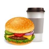 Hamburger and coffee Royalty Free Stock Photo