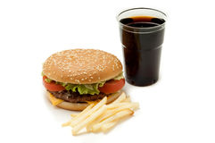 Hamburger with cola Stock Images