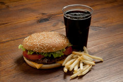 Hamburger with cola Royalty Free Stock Images