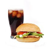 Hamburger and cola Stock Image