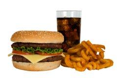 Hamburger, cola & fritture Fotografia Stock