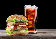 Hamburger and cola drink. Royalty Free Stock Image