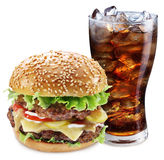 Hamburger and cola drink. Takeaway food. Stock Photos