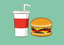 Hamburger with cola drink Royalty Free Stock Image