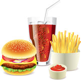Hamburger, cola and french fries Stock Photography