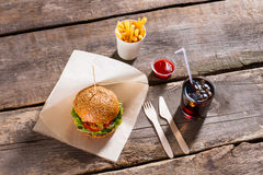 Hamburger with cola and fries. Royalty Free Stock Images