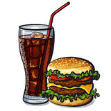Hamburger and cola. Illustration of the hamburger and cola royalty free illustration