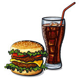 Hamburger and cola Royalty Free Stock Images