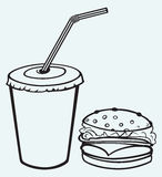 Hamburger with cola Stock Photography