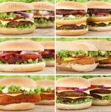 Hamburger collection set cheeseburger burger closeup close up be Stock Photos
