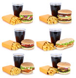 Hamburger collection set cheeseburger and french fries menu meal. Combo cola drink fast food isolated on a white background Royalty Free Stock Photos
