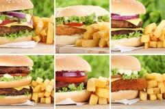 Hamburger collection set cheeseburger with fries closeup close u Royalty Free Stock Image