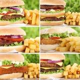Hamburger collection set cheeseburger with fries closeup close Royalty Free Stock Images