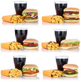 Hamburger collection set cheeseburger and fries menu meal combo. Cola drink isolated on a white background Stock Photography