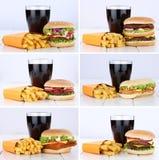 Hamburger collection set cheeseburger and fries menu meal combo. Cola drink unhealthy eating food Royalty Free Stock Photo
