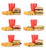 Hamburger collection set cheeseburger and fries menu meal combo. Drink isolated on a white background Stock Photo