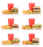 Hamburger collection set cheeseburger and fries menu meal combo. Fast food drink isolated on a white background Royalty Free Stock Photos