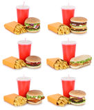 Hamburger collection set cheeseburger and fries menu meal drink stock photography