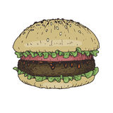 Hamburger colored sketch.Vector illustration in woodcut style. Burger s Stock Photography