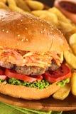 Hamburger com fritadas francesas Imagens de Stock