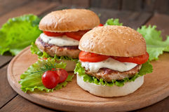 Hamburger com galinha Foto de Stock Royalty Free