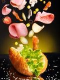 Hamburger com ingrediente. Imagens de Stock Royalty Free