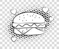 Hamburger comico con le ombre di semitono Stile di Pop art del fondo degli alimenti a rapida preparazione retro Illustrazione ENV illustrazione vettoriale